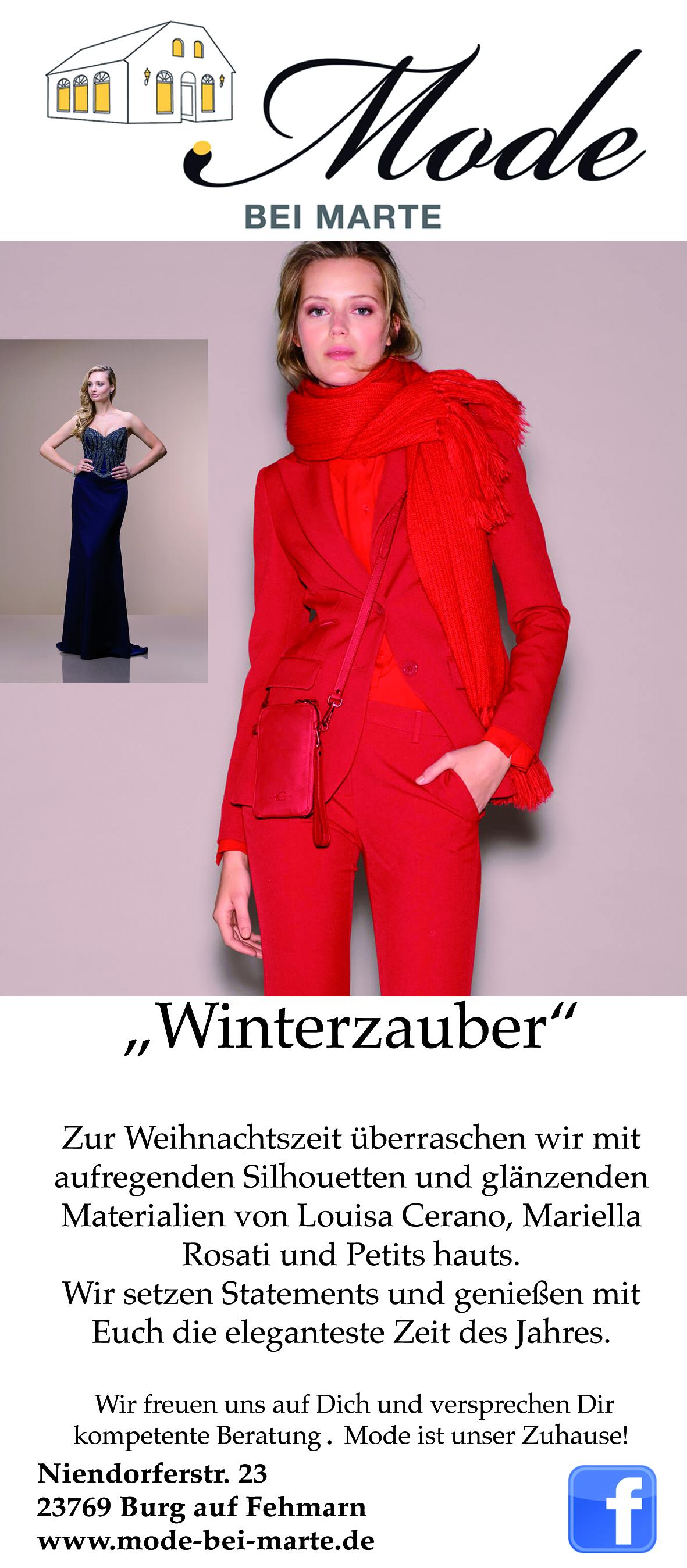 Anzeige im Fehmarnschen Tageblatt mit einem lässigen Outfit von Luisa Cerano
